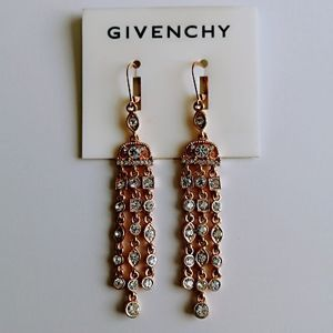 New Givenchy gold tone long earings